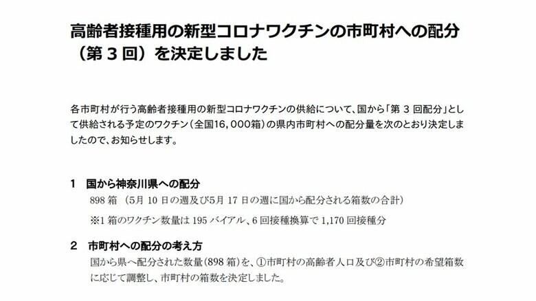 神奈川県 高齢者接種用の新型コロナワクチンの第3回市町村配分を決定