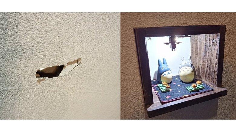 """「元通りにはならないけど…」""""壁にあいた穴""""をオシャレ棚にリメイク! 修復した夫の技も発想もステキ"""