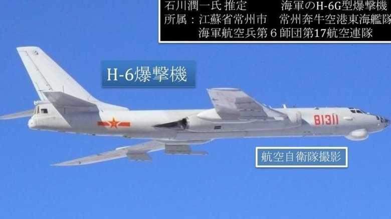 中国軍H-6爆撃機6機ほか計8機飛来に対しスクランブル発進