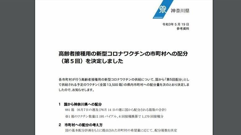 神奈川県 高齢者接種用の新型コロナワクチンの第5回市町村配分を決定