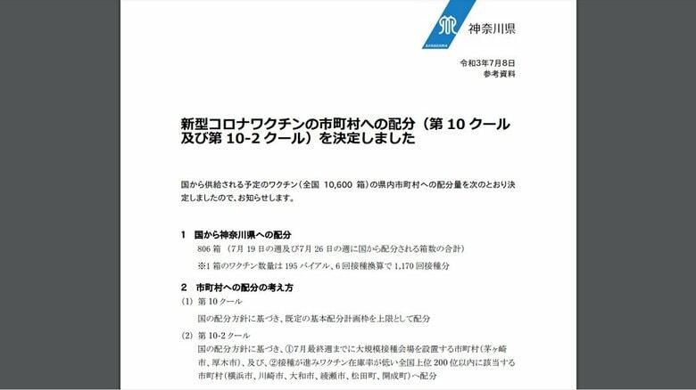神奈川県が新型コロナワクチンの市町村配分(第10、第10-2クール)を決定