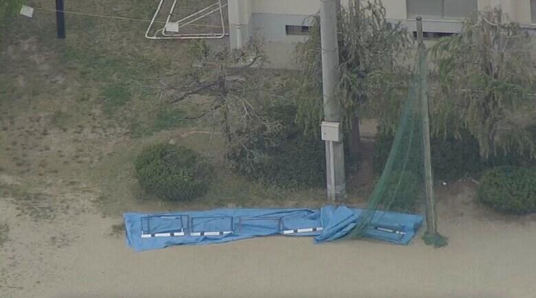 校庭の支柱が頭を直撃 男児2人が死傷…小学校で「防球ネット」の木製支柱が折れる