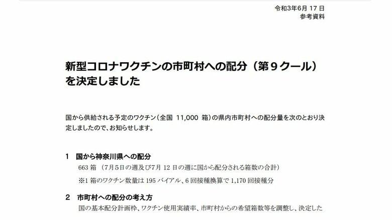 神奈川県が新型コロナワクチンの市町村配分(第9クール)を決定