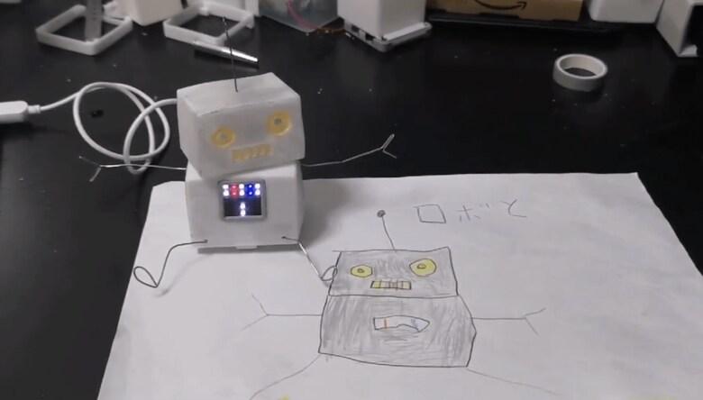 """5歳息子が描いた設計図で「ロボット作ってみた」! """"ユルかわいい""""ボディにほっこり"""