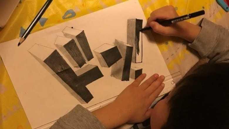 """才能が爆発!""""トリックアート""""をサクサク作る6歳息子に「人生何周目…?」"""