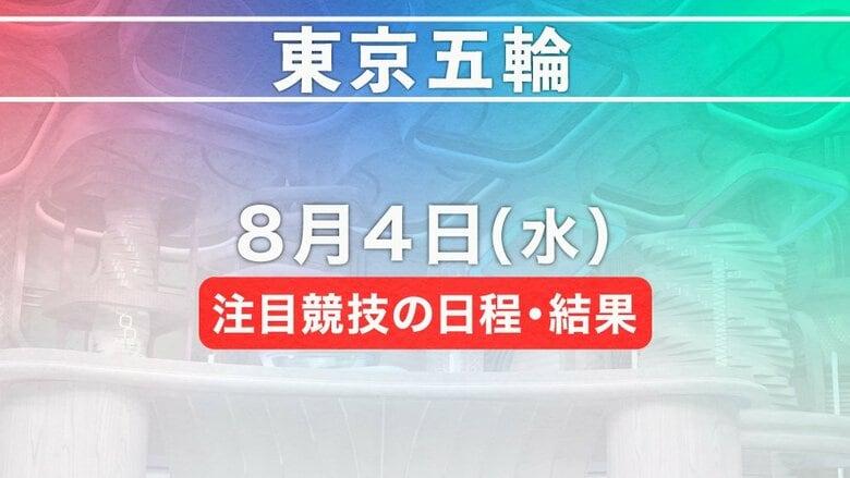 東京五輪 8月4日注目競技の日程・結果