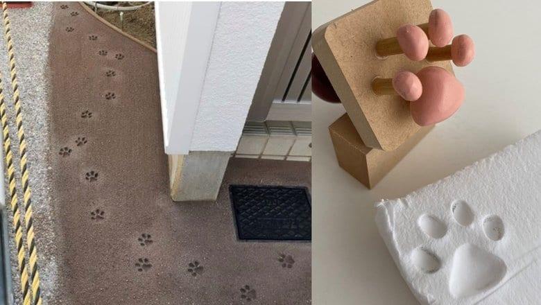 """玄関先の猫の足跡が可愛い…実はセメントが乾く前に捺された""""肉球スタンプ""""だった"""