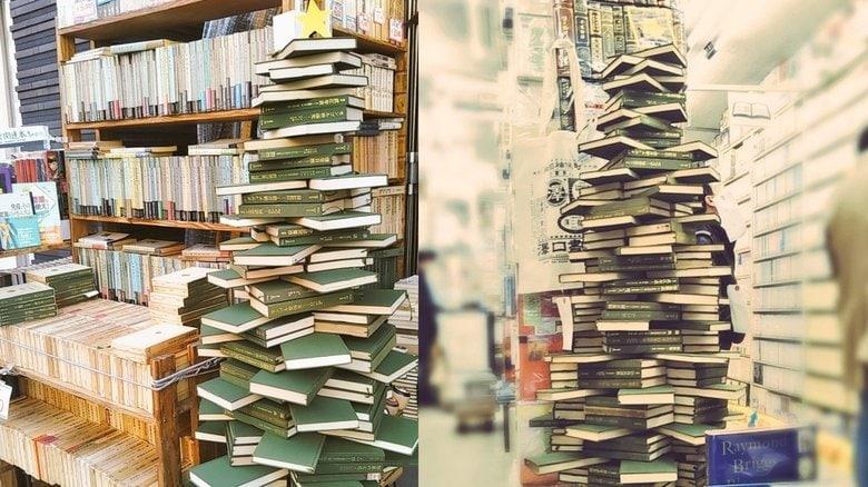 """古書店の""""本のクリスマスツリー""""が話題…芸術的な積み上げ方の工夫を書店員に聞いた"""