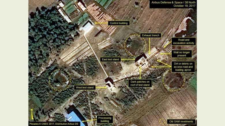 北朝鮮でミサイル用の固体推進ロケット・モーター試験場に動き