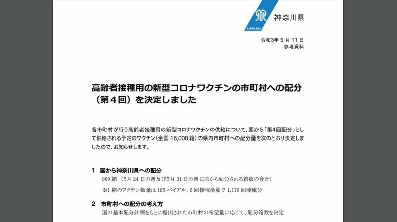 神奈川県 高齢者接種用の新型コロナワクチンの第4回市町村配分を決定